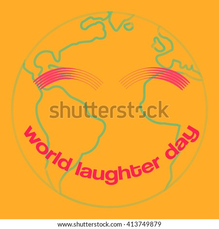 World laughter day minimal creative vector concept with earth icon and text for smile - stock vector