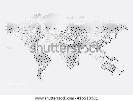 World map abstract concept social network stock vector 416518381 world map abstract concept social network target selection digital structure vector illustration gumiabroncs Images