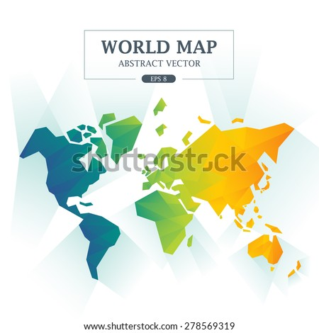World Map Abstract Full Color Vector Illustration - stock vector