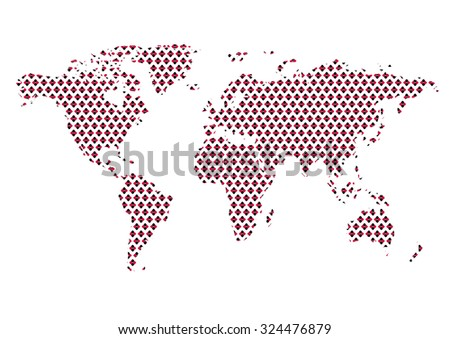 World map abstract with circular flower pattern. Easy to change colors. - stock vector