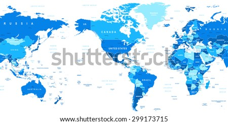 World Map - America in center - stock vector