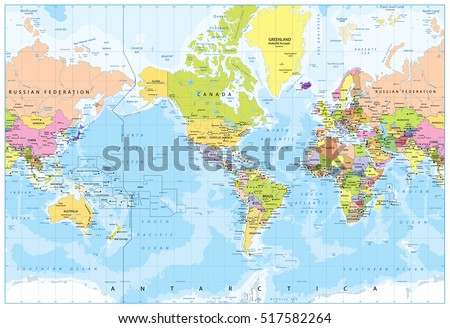 World map america center bathymetry highly stock vector 517582264 world map america in center bathymetry highly detailed vector illustration of world map gumiabroncs Image collections