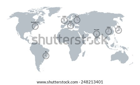 world map and clocks background - stock vector