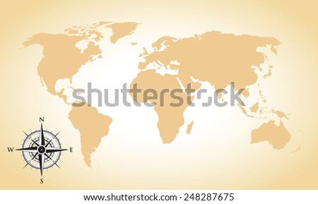 world map and compass background - stock vector