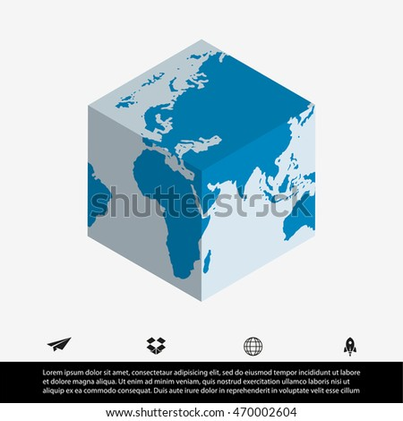 World map cube stock vector 470002604 shutterstock world map and cube sciox Gallery