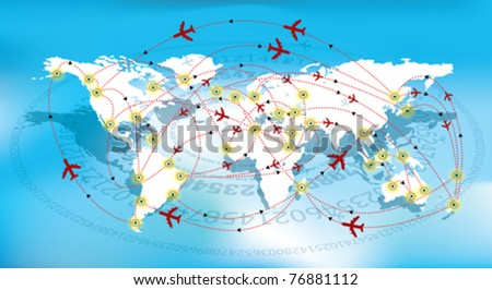 world map and flight path - stock vector