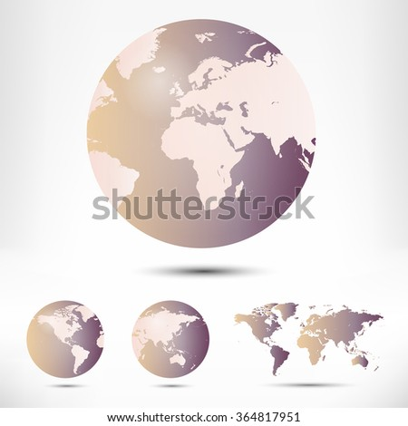 World map and globe detail vector illustration - stock vector