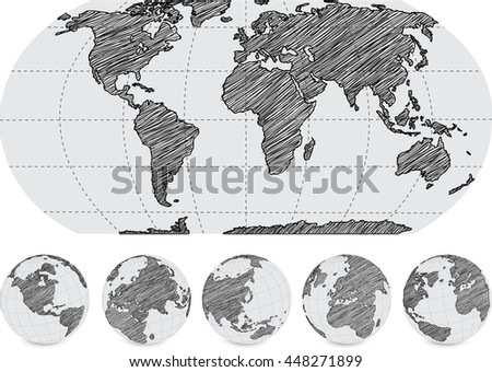 World Map and Globe Detail Vector Illustration, EPS 10. - stock vector