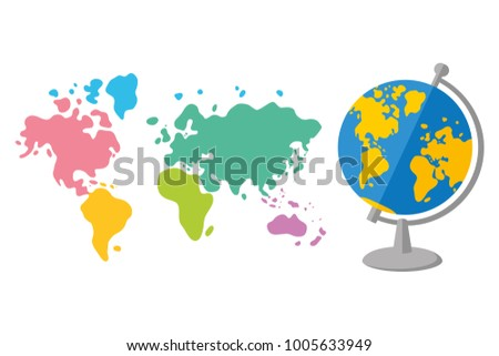 Green world map icon stock vector 531112084 shutterstock world map and globe flat cartoon vector isolated gumiabroncs Gallery