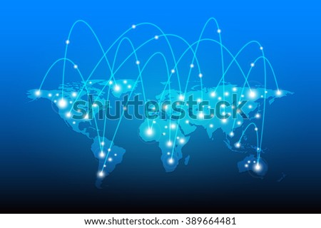 World Map and Globe network connection, Vector illustration - stock vector
