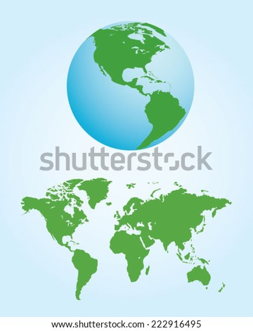 World Map and Globe Set - Vector - stock vector
