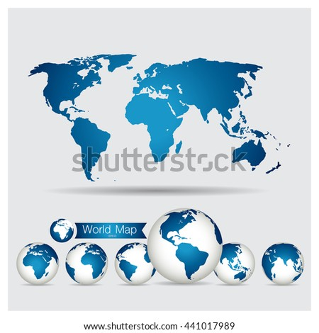 World Map and Globe, vector illustration.