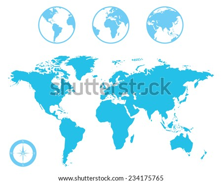 World Map and Globe with Compass Icon - stock vector