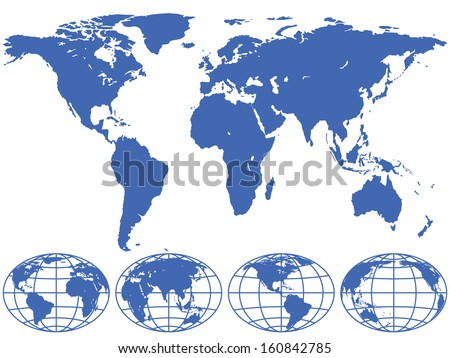 World map and globes are located on different layers. - stock vector