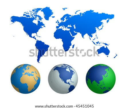 world map and globes (vector)
