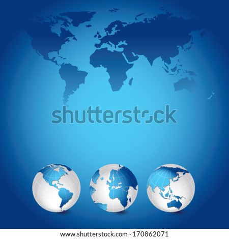 World map and globes. Vector illustration of Global map in America continent, Asia continent, Africa, Middle East and European continents view.