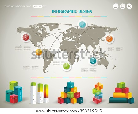 World Map and Information Graphics - stock vector