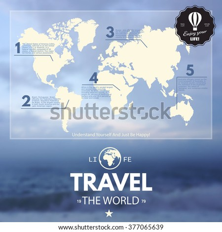 World Map and Information graphics on blur realistic background. Travel - stock vector