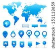 World map and navigation icons - stock vector