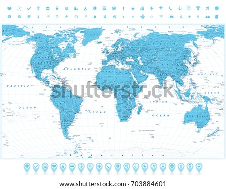 World map navigation icons highly detailed stock vector hd royalty world map and navigation icons highly detailed large world map countries cities gumiabroncs Choice Image