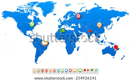 World Map and navigation icons - illustration