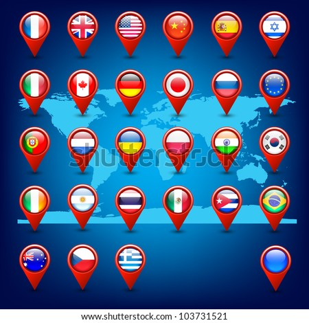 world map and pins with flags vector - stock vector