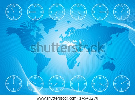 World map and region time, vector illustration file with layers