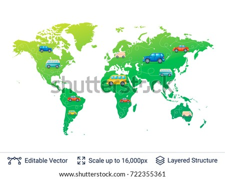 World map various cars on it stock vector 722355361 shutterstock world map and various cars on it vehicles on earth plan vector template easy gumiabroncs Gallery