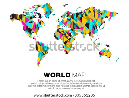 Geometric world map triangle pattern vector stock vector 206709337 world map background in polygonal style abstract origami color map design gumiabroncs Gallery