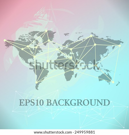 World Map background with blue and pink paint splashes - stock vector