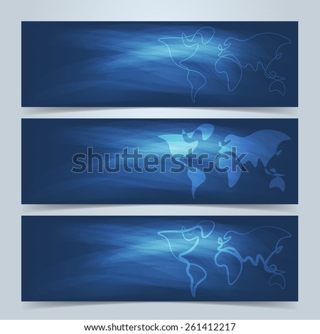 world map banners website header set stock vector royalty free