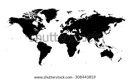 World map black silhouette map - stock vector