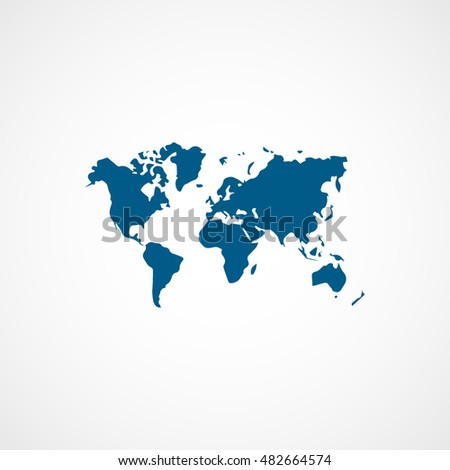 World map blue flat icon on stock vector hd royalty free 482664574 world map blue flat icon on white background gumiabroncs Images