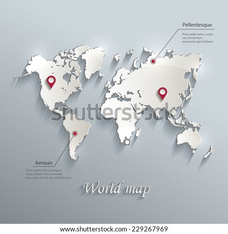 World map blue white card paper 3D vector infographics  - stock vector