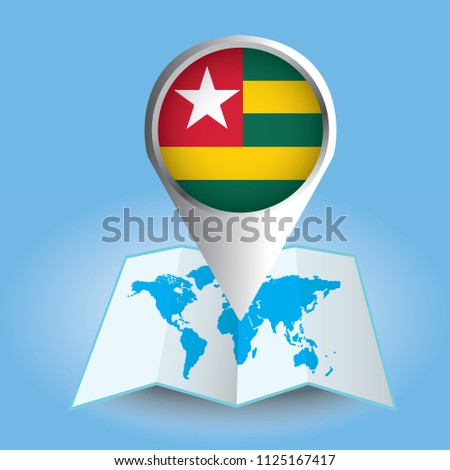 World map centered on africa magnified stock vector 1125167417 world map centered on africa with magnified togo blue flag and map of togo gumiabroncs Images