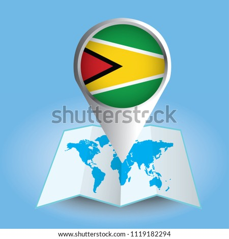 World map centered on south america stock vector 1119182294 world map centered on south america with magnified guyana blue flag and map of guyana gumiabroncs Image collections