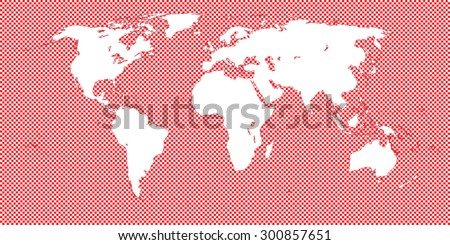 World Map Checkered Red 2 Medium Squares - stock vector