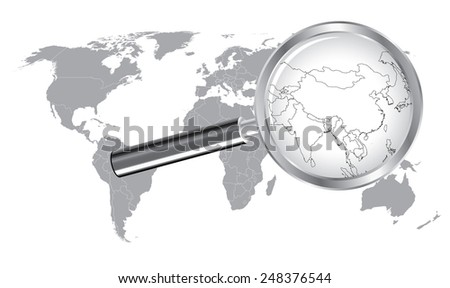 World map china india wired outline stock vector 248376544 world map china india wired outline countrie with magnifier glass gumiabroncs Gallery