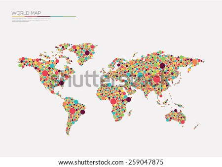 World map circles.Vector illustration  - stock vector