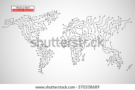 World Map. Circuit board. Technology background. Vector illustration. Eps 10 - stock vector
