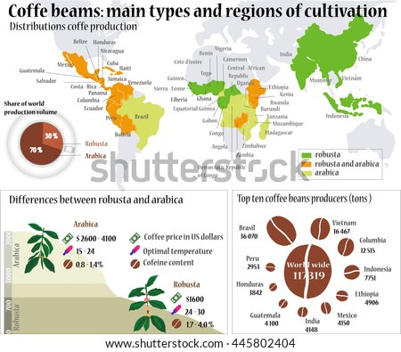 World map coffee info graphic coffee vector de stock445802404 world map coffee info graphic coffee beans main types and region of cultivation gumiabroncs Choice Image