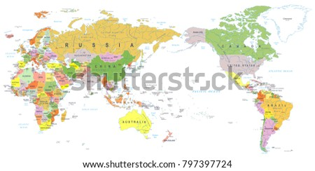 World map color asia center vector vector de stock797397724 world map color asia in center vector gumiabroncs Gallery