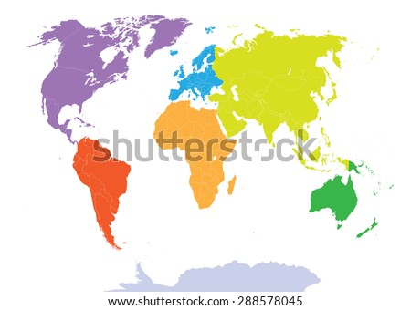 world map colored by continents - stock vector