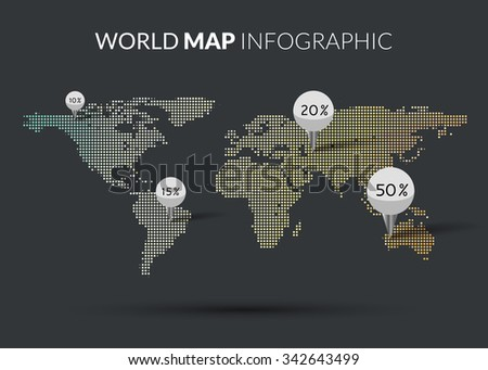 World Map colorful Dot illustration infographics with points pins and percentage on dark background. Halftone Dotwork Vector illustration  - stock vector
