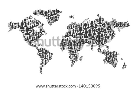 World map. Composed from many people silhouettes, vector - stock vector
