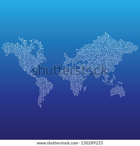 World map connected by Circuit board lines. - stock vector
