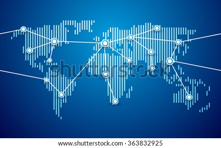 world map connection blue background - stock vector