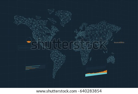 World map connection infographics perspective vector stock vector world map connection infographics in perspective vector illustration gumiabroncs Images