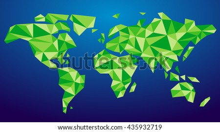 World map consisting of green triangles. Abstract vector background. - stock vector