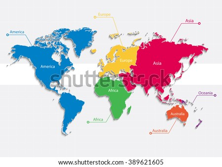 World Map Highlighted Continents Different Colors Stock Vector - World map highlighting australia
